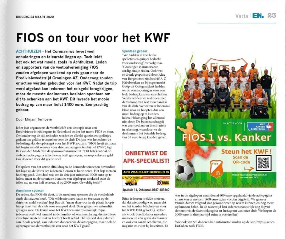 FIOS on tour voor het KWF
